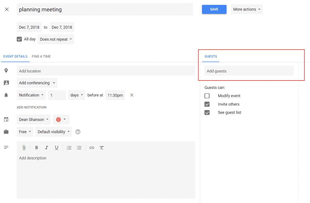 Google Calendar Invite
